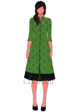 Parrot Green Art Silk Brocade Embroidered Anarkali Suit