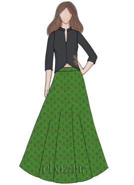 Parrot Green Art Silk Brocade Indowestern Skirt Set