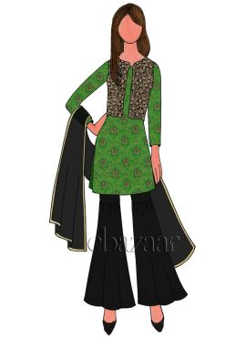 Parrot Green Art Silk Brocade Sharara Suit