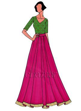 Parrot Green Art Silk Brocade Skirt Set