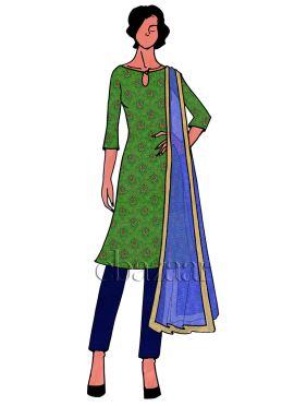Parrot Green Art Silk Brocade Straight Pant Suit