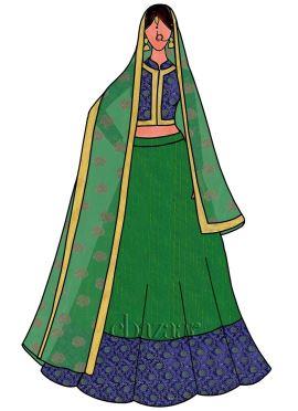 Parrot Green Art Silk Umbrella Lehenga Set