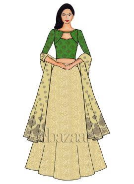 Parrot Green Boat Neck Embroidered Lehenga Set