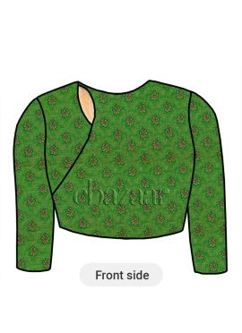 Parrot Green Close Neck Embroidered Blouse
