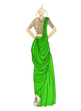 Parrot Green Georgette Pre Draped Saree
