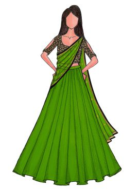 Parrot Green Lengha with Black Embroidered Blouse