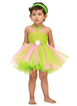 Parrot Green N Baby Pink Kids Tutu Dress