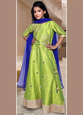 Parrot Green N Blue Kids Lehenga Choli