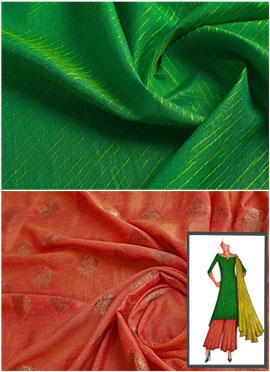 Parrot Green N Burnt Orange Palazzo Suit
