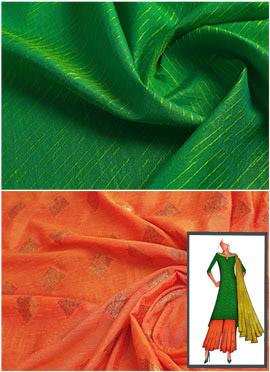 Parrot Green N Orange Long Kurta Palazzo Suit