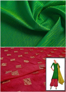 Parrot Green N Red Long Kurta Palazzo Suit