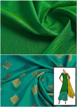Parrot Green N Turquoise Long Kurta Palazzo Suit
