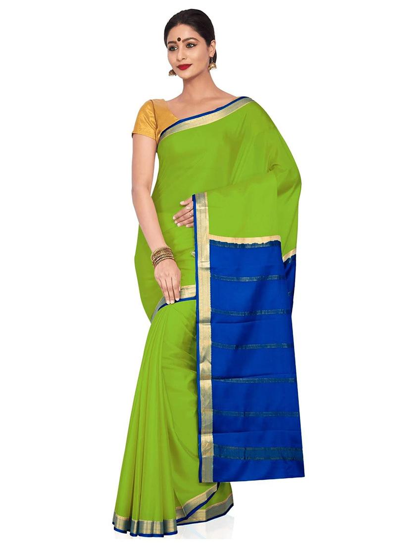 Parrot Green Pure Mysore Silk Saree