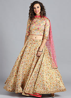 Pastel Embroidered Umbrella Lehenga