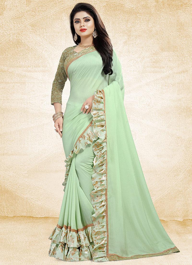 6dc7714552 Buy Pastel Green Art Silk Ruffled Border Saree, Printed , Embroidered ...