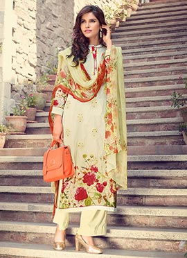 Pastel Green Blended Cotton Palazzo Suit