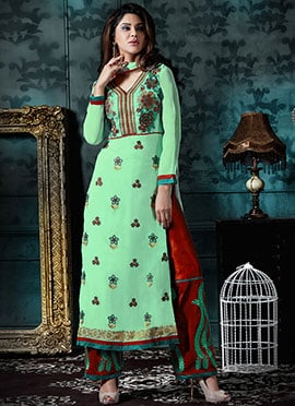 Pastel Green Georgette Palazzo Suit