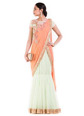 Pastel Green N Orange Georgette Saree Gown