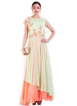Pastel Green N Orange Layered Gown