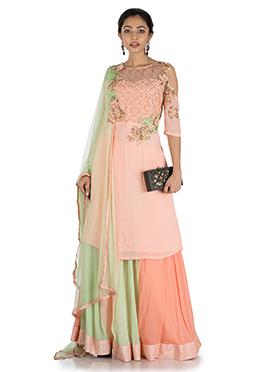 Pastel Peach N Green Georgette Sharara Suit