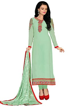 Patal Green Embroidered Straight Suit