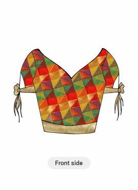 Patterned Multicolor Art Silk and Light Beige Shimmer Georgette Blouse