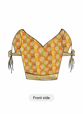 Patterned Yellow Art Silk and Light Beige Shimmer Georgette Blouse