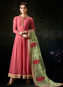 Peach Ankle Length Anarkali Suit
