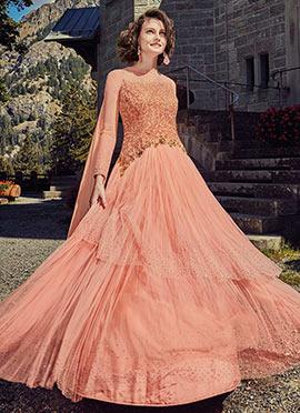 Peach Ankle Length Anarkali Suit