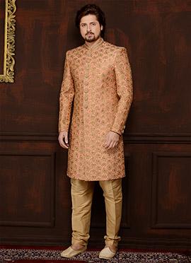 Peach Art Benarasi Silk Indowestern Sherwani