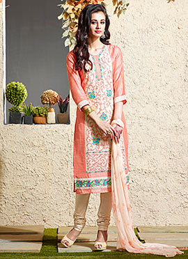 Peach Art Chanderi Silk Cotton Churidar Suit