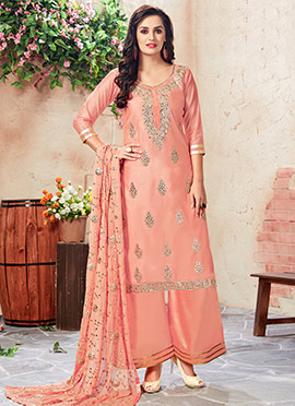 Peach Art Chanderi Silk Palazzo Suit