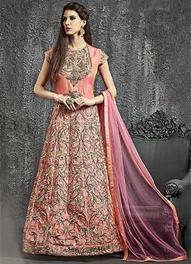 Peach Art Raw Silk Anarkali Gown