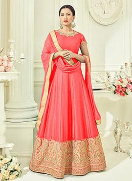 Peach Art Silk Abaya Style Anarkali Suit