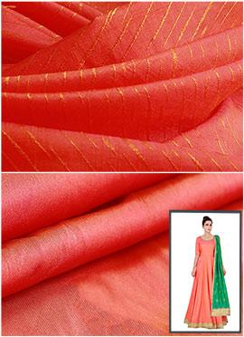 Peach Art Silk Anarkali Suit