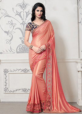 Peach Art Silk Border Saree