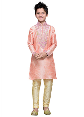 Peach Art Silk Boys Kurta Pyjama