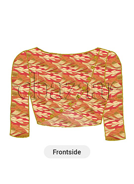 Peach Art Silk Brocade Blouse