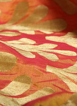 Peach Art Silk Brocade Fabric