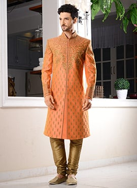 Peach Art Silk Chipkan Sherwani