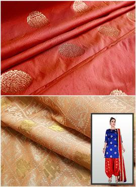 Peach Art Silk Cowled Patiala Suit