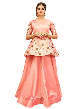 Peach Art Silk Gown