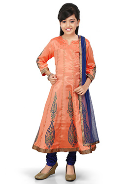 Peach Art Silk Kids Anarkali Suit