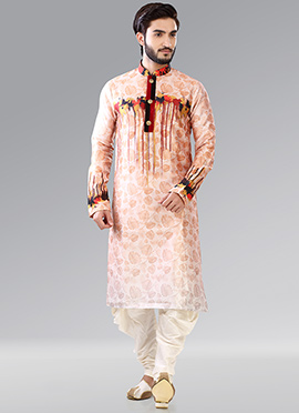 Peach Art Silk Kurta Pyjama