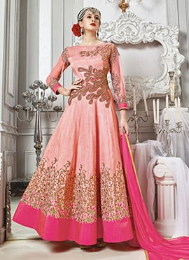 Peach Art Silk Net Anarkali Suit