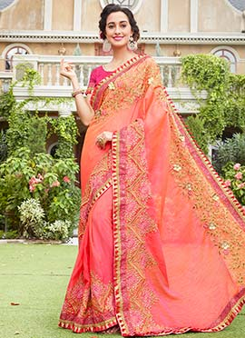 Peach Georgette Saree