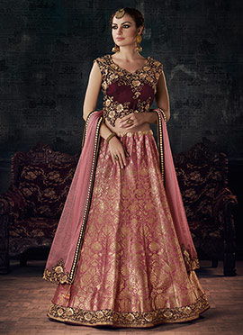 Peach Art Silk Umbrella Lehenga