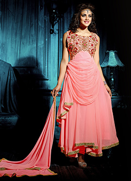 Peach Asymmetrical Draped Anarkali Suit