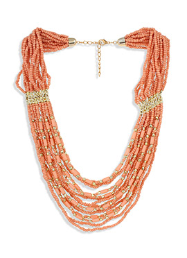 Peach Bead Multilayered Necklace