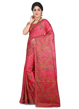 Coral pink Benarasi Pure Silk Saree